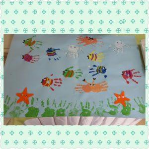 handprint sea animals bulletin board