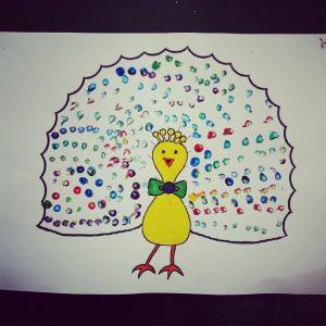 qtip stamp peacock craft