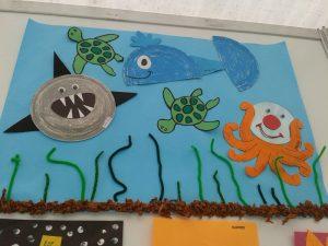 recycled sea animals bulletin board