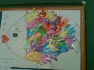 handprint fish bulletin board idea for kids