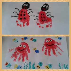 handprint sea animals craft for kids