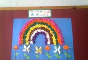 rainbow bulletin board idea for spring