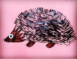 fork stamp hedgehog craft