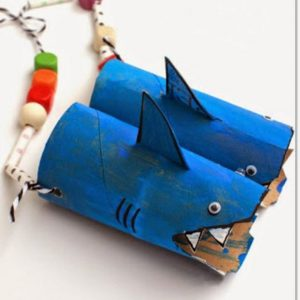toilet paper roll shark craft idea