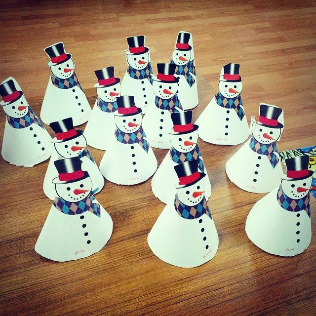cone shaped snowman bulletin board idea (1)