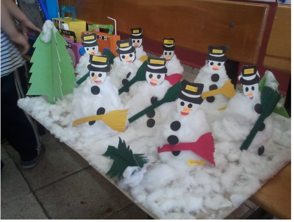 cotton snowman bulletin board idea