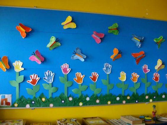 hand and footprint spring bulletin board