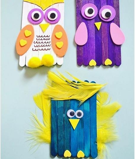 popsicle stick bird craft idea