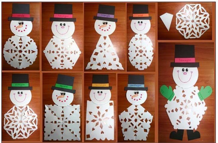 snowflake snowman craft idea for kids
