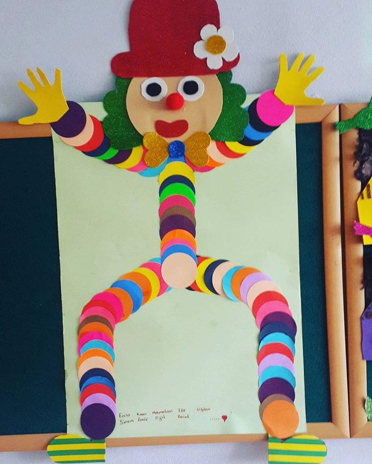 circle clown bulletin board idea