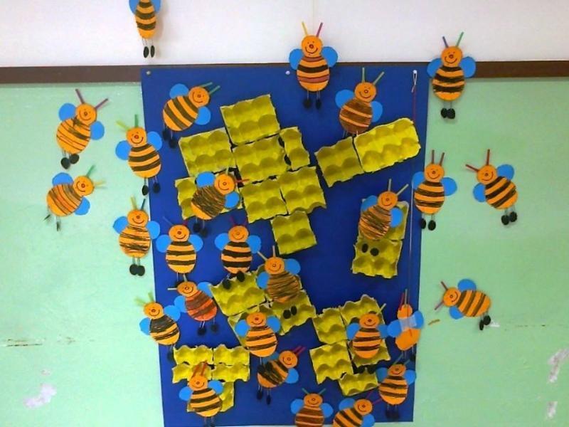 egg carton beeheive craft