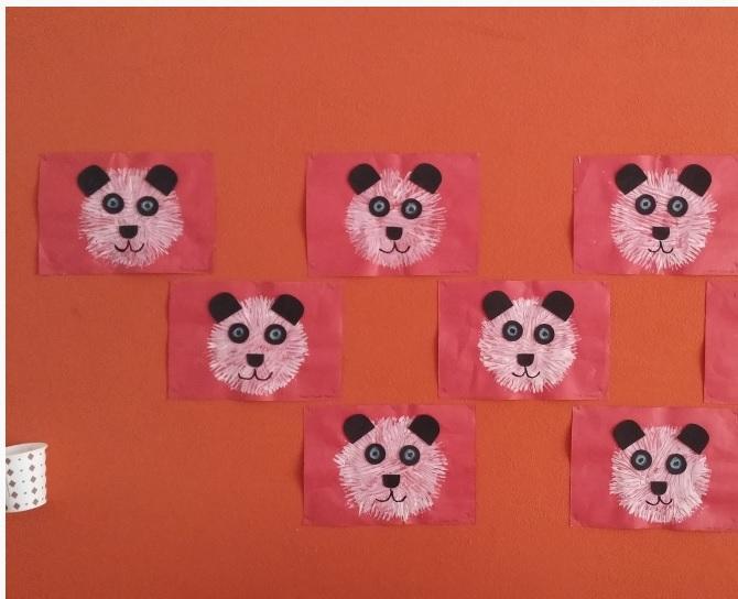 fork stamp panda bear craft