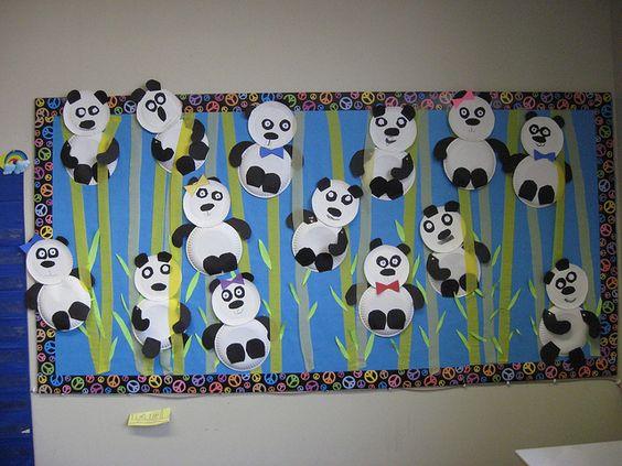 paper plate panda bulletin board idea