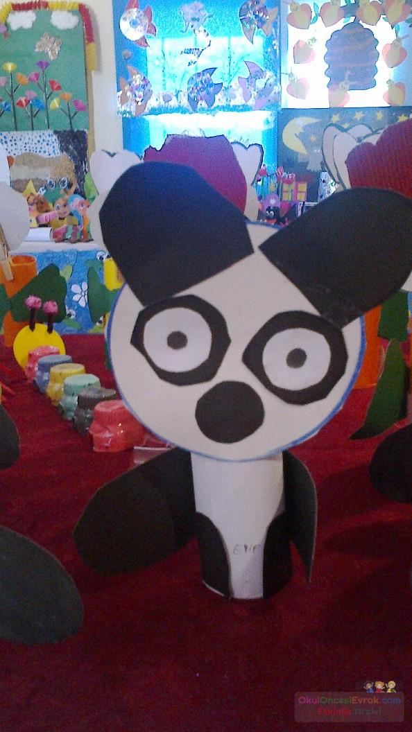 toilet paper roll panda bear craft