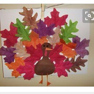 leaf turkey craft for kindergarten
